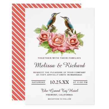 Wedding Themed Romantic Coral Roses and Birds Wedding Invitation