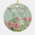 Romantic Corset Vintage Pink Roses Mint Textured Ceramic Ornament