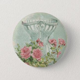 Romantic Corset Vintage Pink Roses Mint Textured Pinback Button