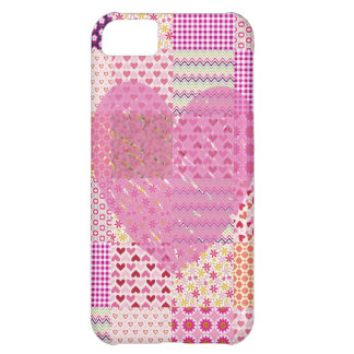 Romantic Country Style Pink Patchwork Heart Design Cover For iPhone 5C