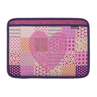 Romantic Country Style Pink Patchwork Heart Design MacBook Sleeves
