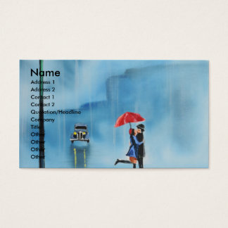 Romantic couple and a red umbrella G Bruce art Business Card