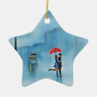 Romantic couple and a red umbrella G Bruce art Ceramic Ornament