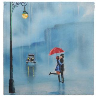 Romantic couple and a red umbrella G Bruce art Cloth Napkin