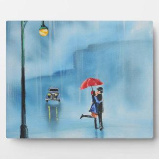 Romantic couple and a red umbrella G Bruce art Plaque