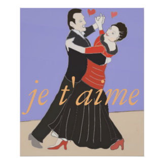 Romantic Couple Ballroom Dancing in Colour Poster