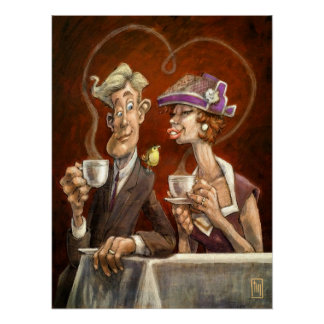 Romantic Couple Cafe Wall Art Poster