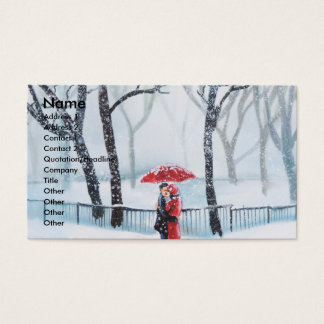 Romantic couple dancing in the snow red umbrella business card