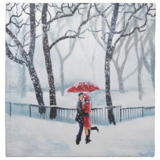 Romantic couple dancing in the snow red umbrella napkin