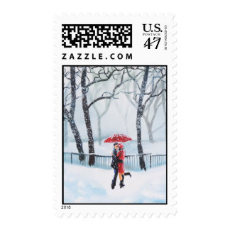 Romantic couple dancing in the snow red umbrella postage