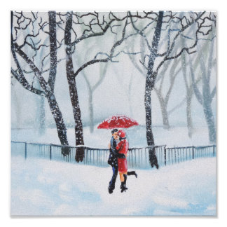 Romantic couple dancing in the snow red umbrella poster