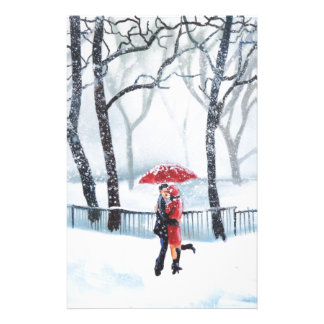 Romantic couple dancing in the snow red umbrella stationery
