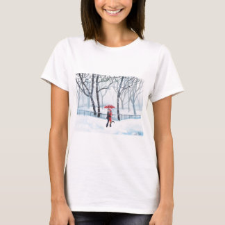 Romantic couple dancing in the snow red umbrella T-Shirt