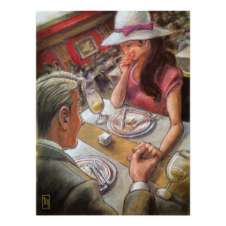 Romantic Couple Dining Wall Art Poster
