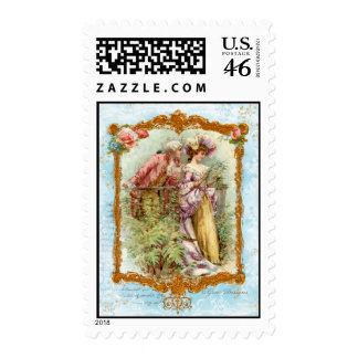 Romantic Couple French Regency Postage Stamps