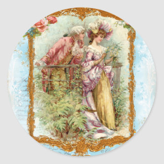 Romantic Couple French Regency Style Classic Round Sticker
