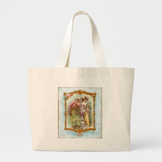 Romantic Couple French Regency Style Large Tote Bag