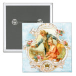 Romantic Couple French Vintage Framed Pinback Buttons