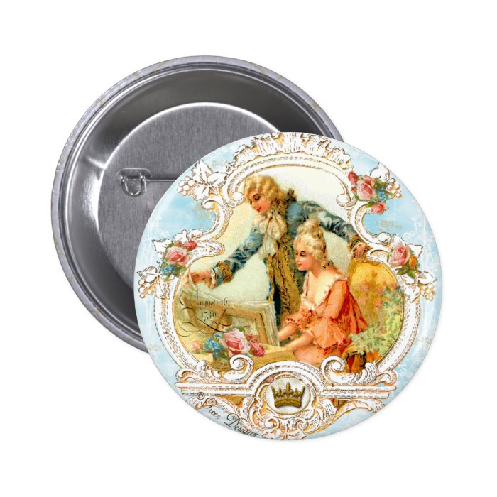 Romantic Couple French Vintage Framed Button