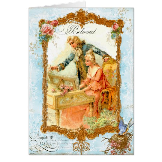 Romantic Couple French Vintage Style Card