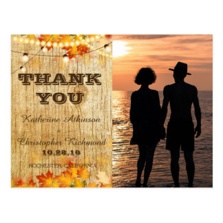 Romantic Couple Holding Hands at Sunset/fall Postcard