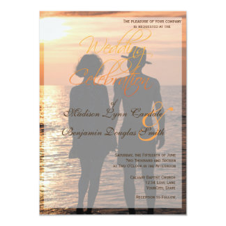 Romantic Couple Holding Hands at Sunset/Wedding Card