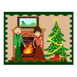 Romantic Couple Holiday Postcard