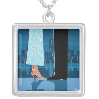 Romantic Couple in City Silver Plated Necklace