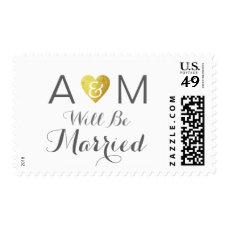 romantic couple initials wedding elegant postage