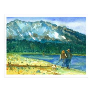 Romantic Couple Love Winter Lake Walk Watercolor Postcard