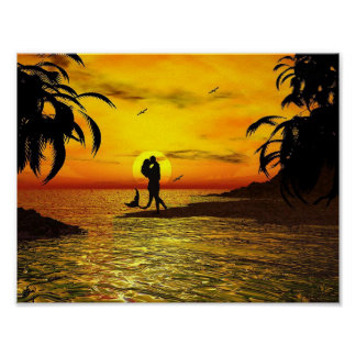 Romantic Couple Mermaid Sunset Palm Trees Ocean Poster