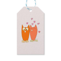 Romantic couple of funny owls gift tags