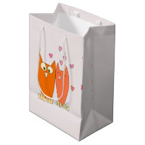 Romantic couple of funny owls medium gift bag