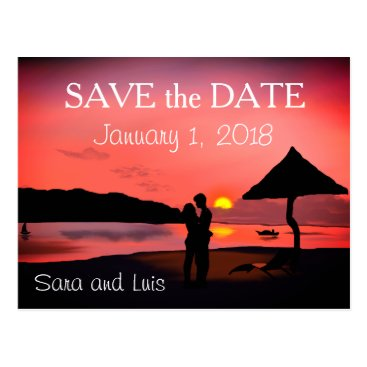 Beach Themed Romantic Couple on Beach at ZSunset Save the Date Postcard