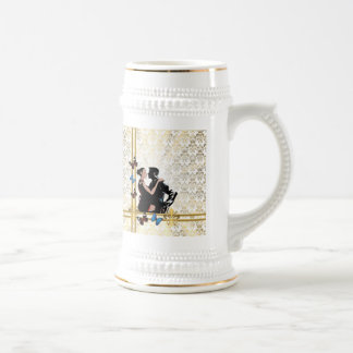 Romantic couple on white damask beer stein
