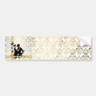 Romantic couple on white damask bumper sticker