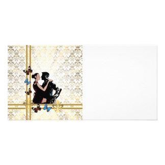 Romantic couple on white damask card