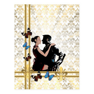 Romantic couple on white damask postcard