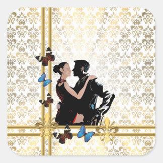 Romantic couple on white damask square sticker
