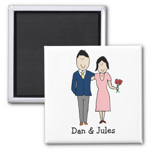 Romantic couple - personalized cartoon magnet