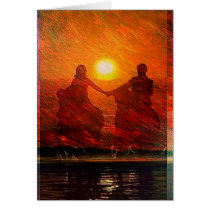 Romantic Couple ride into the sunset on horseback Card