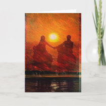 Romantic Couple ride into the sunset on horseback Holiday Card