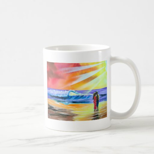 ROMANTIC COUPLE SEA BEACH SCENE COFFEE MUG