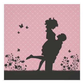Romantic Couple Silhouette Illustration Poster