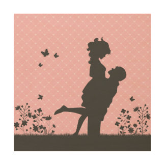 Romantic Couple Silhouette Illustration Wood Wall Art
