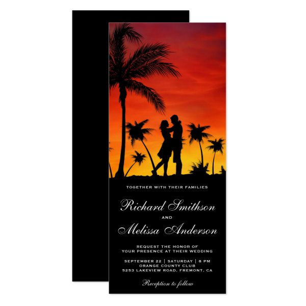 Romantic Couple Tropical Sunset Wedding Invitation