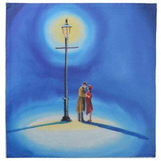 Romantic couple under a street lamp cloth napkin