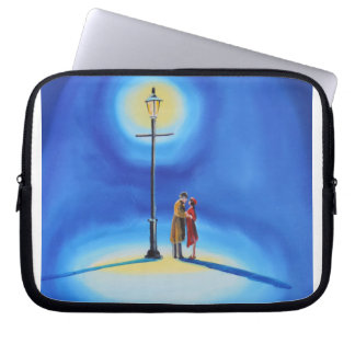 Romantic couple under a street lamp computer sleeve
