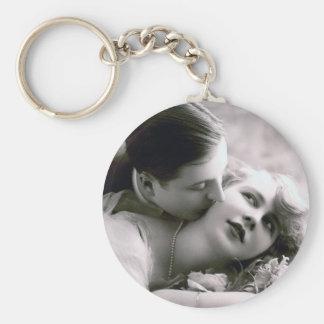 Romantic Couple Vintage Retro Photo Elegant Love Keychain
