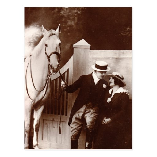 Romantic Couple with Gray Horse Postcard